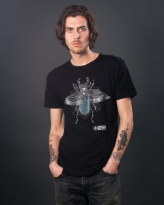 Black stag beetle graphic T-shirt. Men's eco t-shirt with a hand drawn design