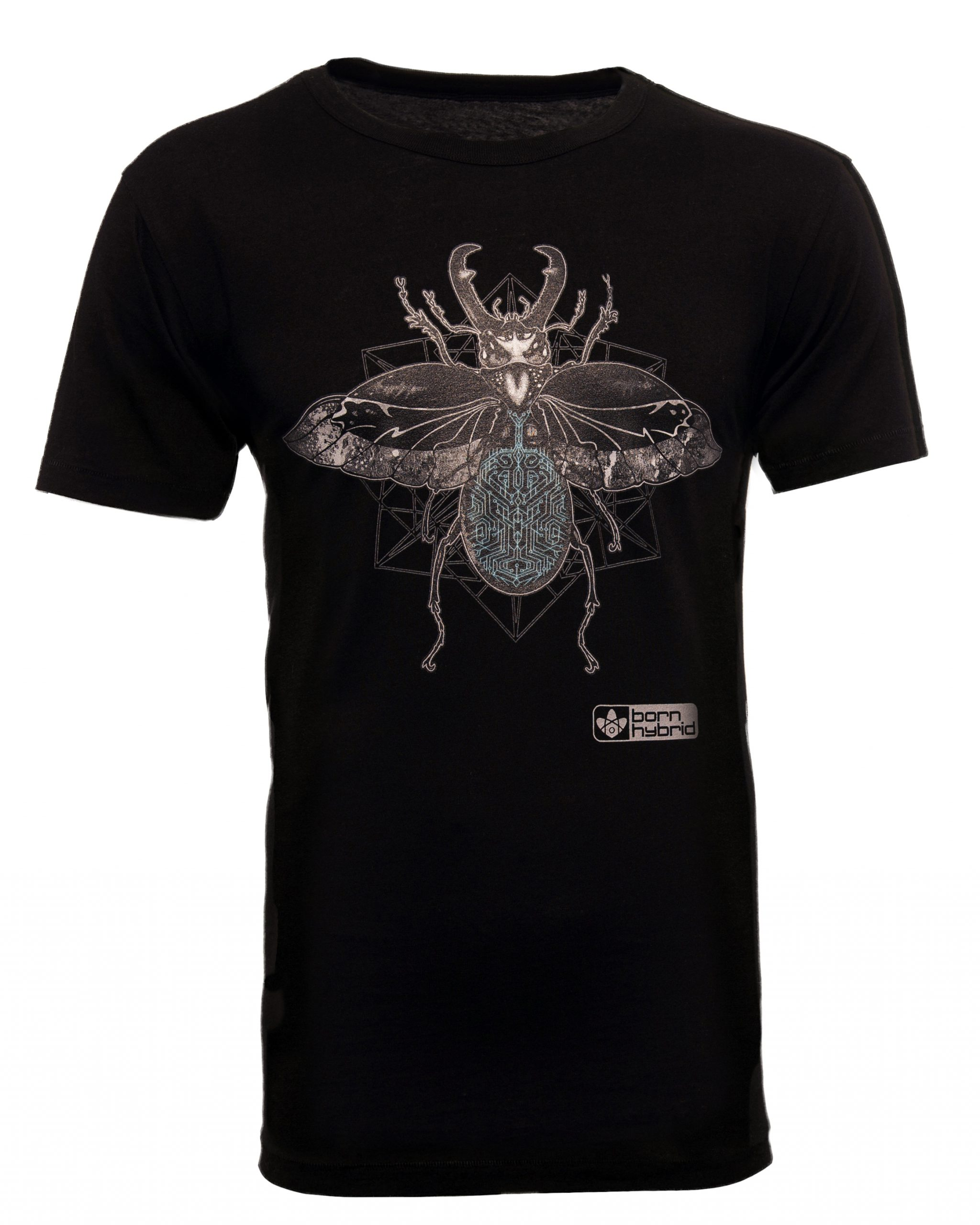 Black men's eco friendly stag beetle graphic t-shirt with a detailed design