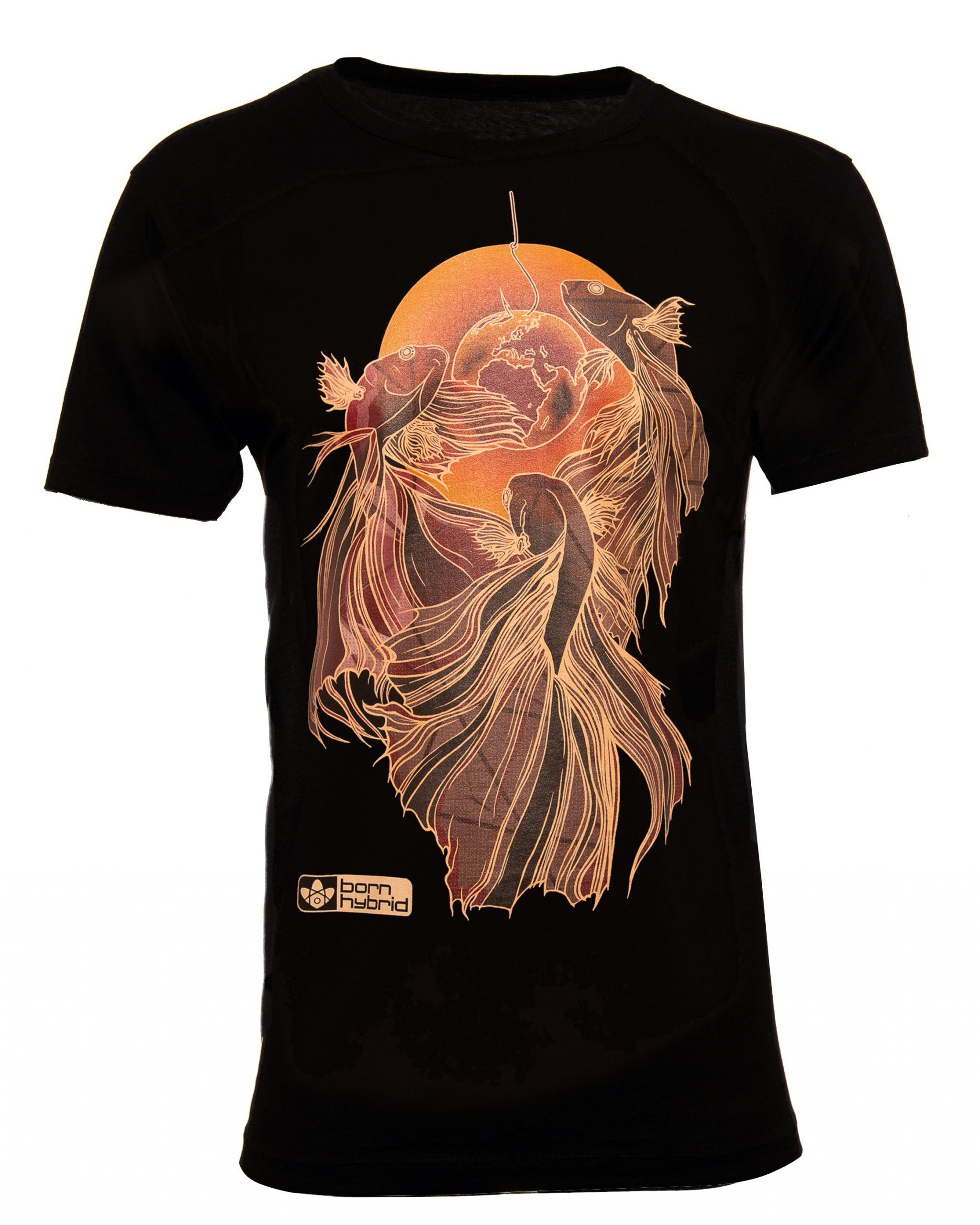 Men's black betta T-shirt / siamese fighting fish T-shirt with red and orange fighting fish graphic. Eco t-shirt by Born Hybrid