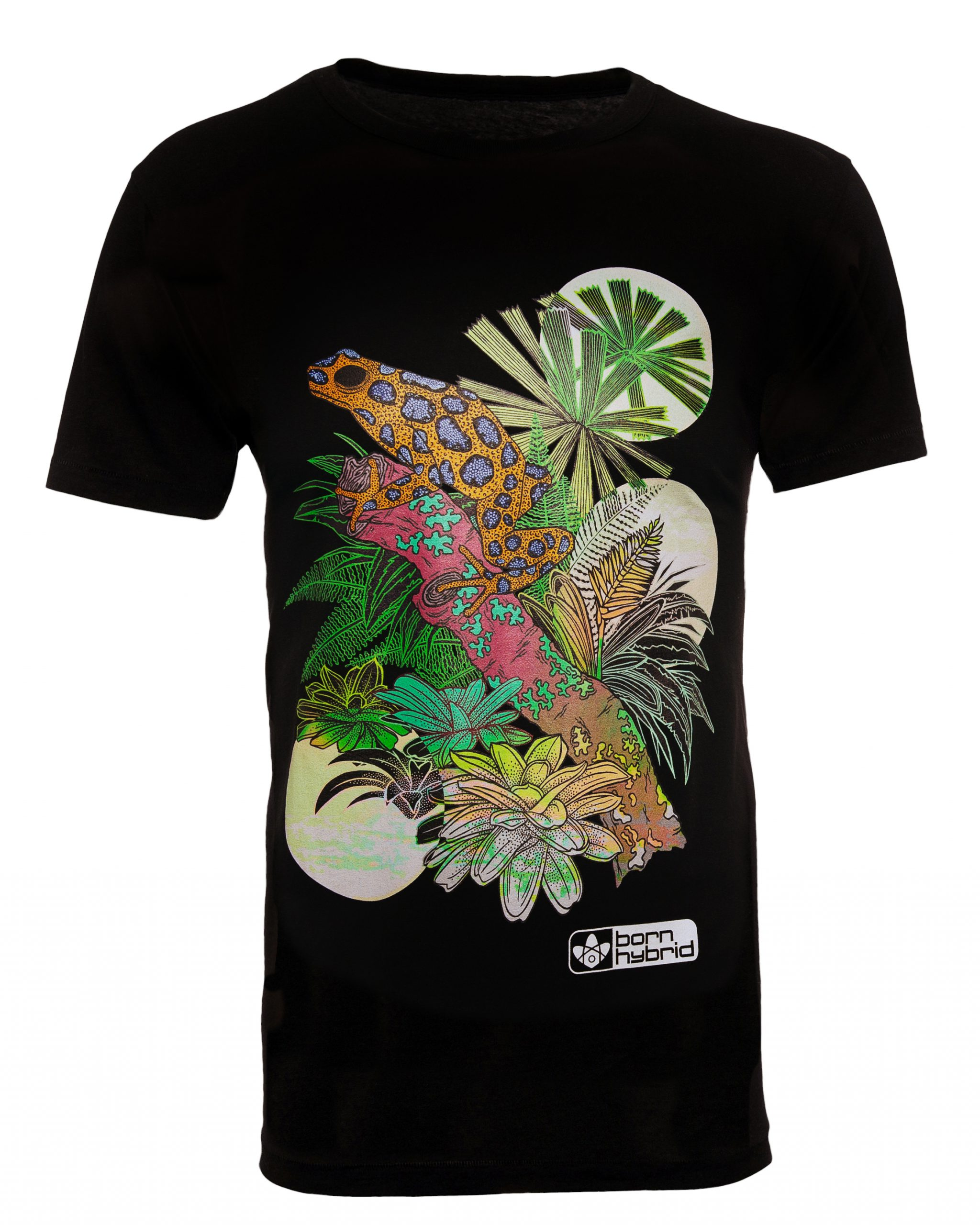 Black frog graphic T-shirt with colourful poison dart frog design. Men's/unisex eco t-shirt by Born Hybrid