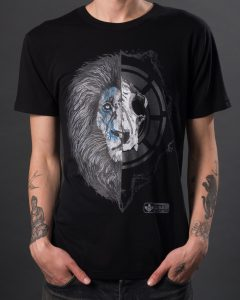 Men's black lion graphic t-shirt. Eco tee by Born Hybrid