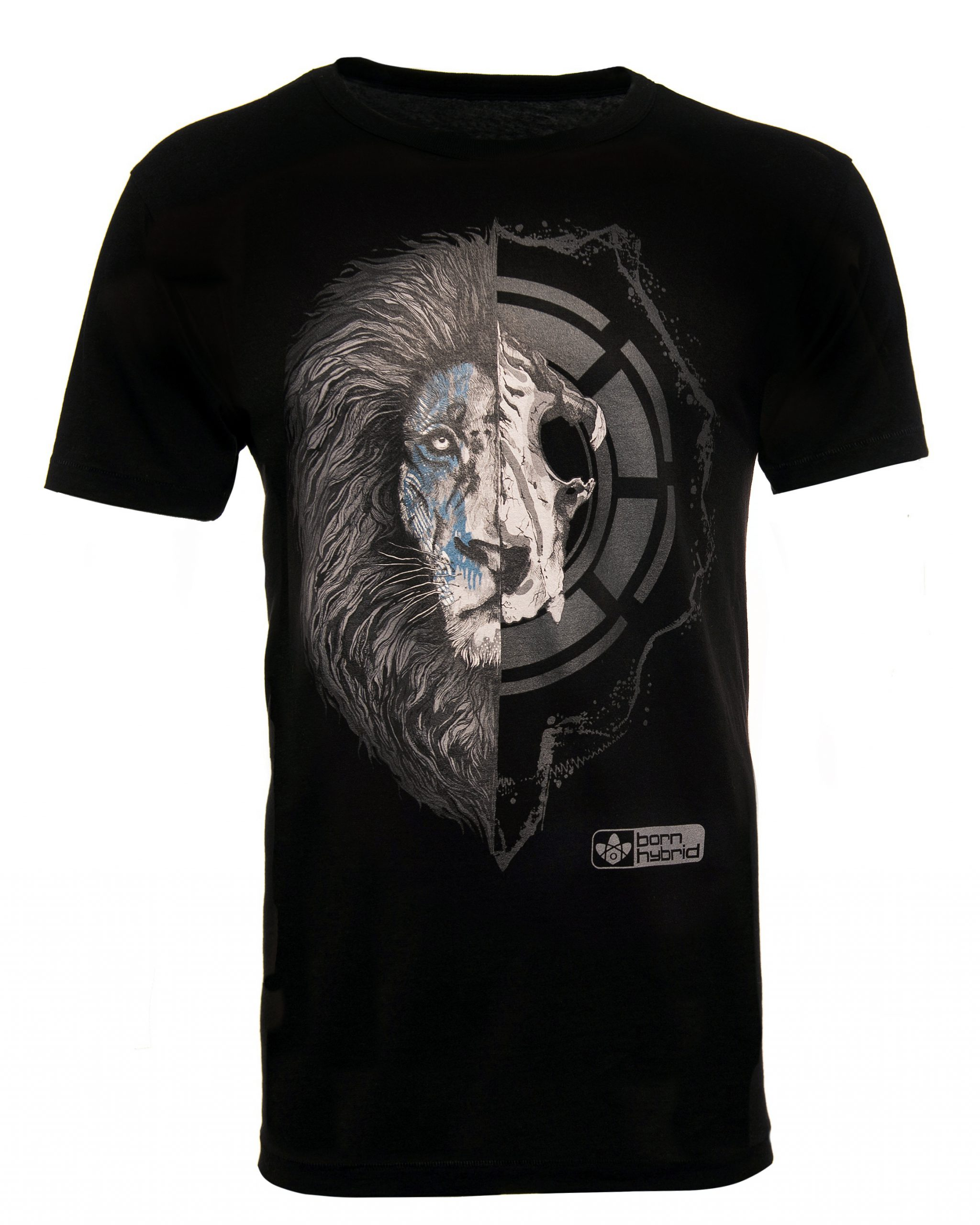 Men's black lion graphic t-shirt - half lion face, half lion skull. Combed organic cotton