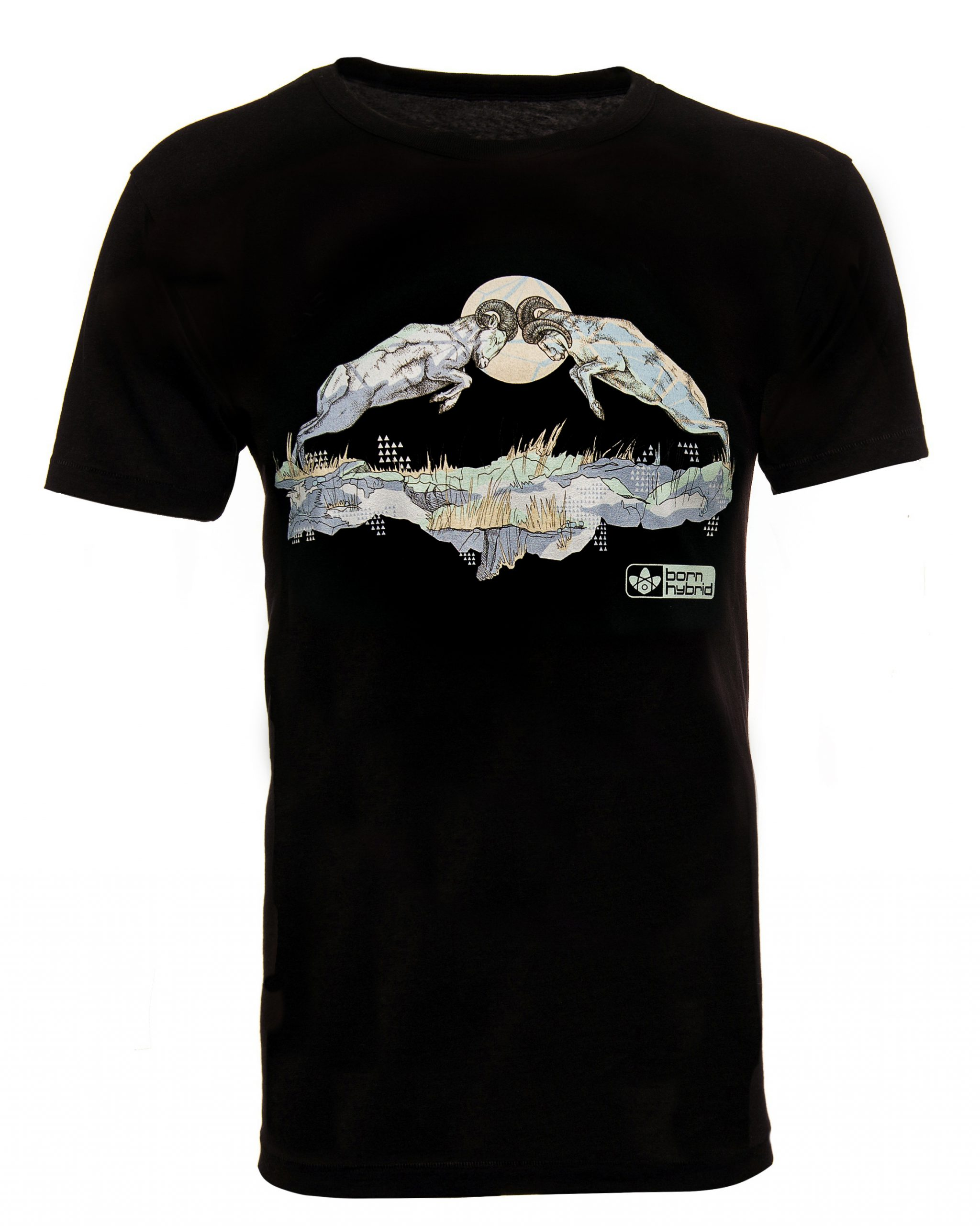 Black graphic T-shirt. Bighorn sheep t-shirt featuring two rams rutting. Eco T-shirt in organic combed cotton