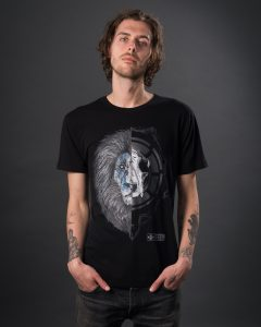 Men's black lion graphic t-shirt with hand drawn design. Eco t-shirt in combed organic cotton by sustainable clothing brand Born Hybrid