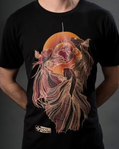 Men's black betta T-shirt / Siamese fighting fish T-shirt with red and orange design.