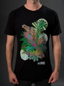 Men's frog graphic t-shirt with colourful design. Eco t-shirt in black