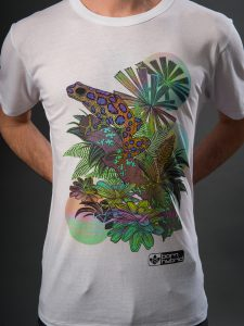 Men's frog graphic T-shirt in white with colourful hand drawn design