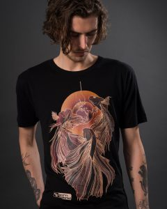 Men's black betta T-shirt / siamese fighting fish t-shirt with red and orange design. Eco T-shirt by Born Hybrid