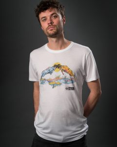 White men's ram graphic T-shirt with rams rutting. Eco t-shirt by Born Hybrid