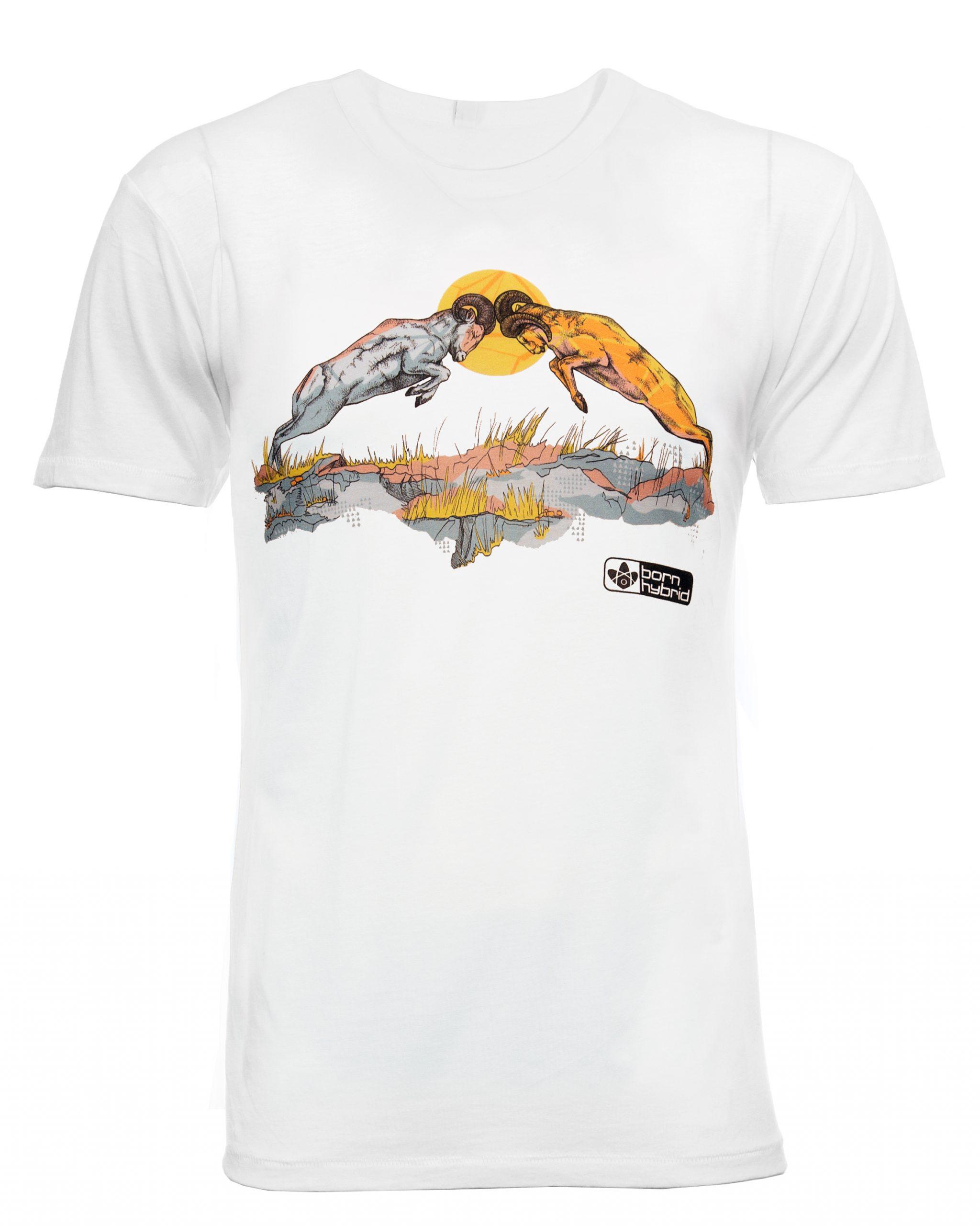 Ram Graphic T-shirt. Men's/Unisex fit. White graphic tee by Born Hybrid