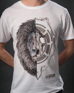 White men's lion graphic t-shirt - half lion face, half lion skull. Eco tee by Born Hybrid