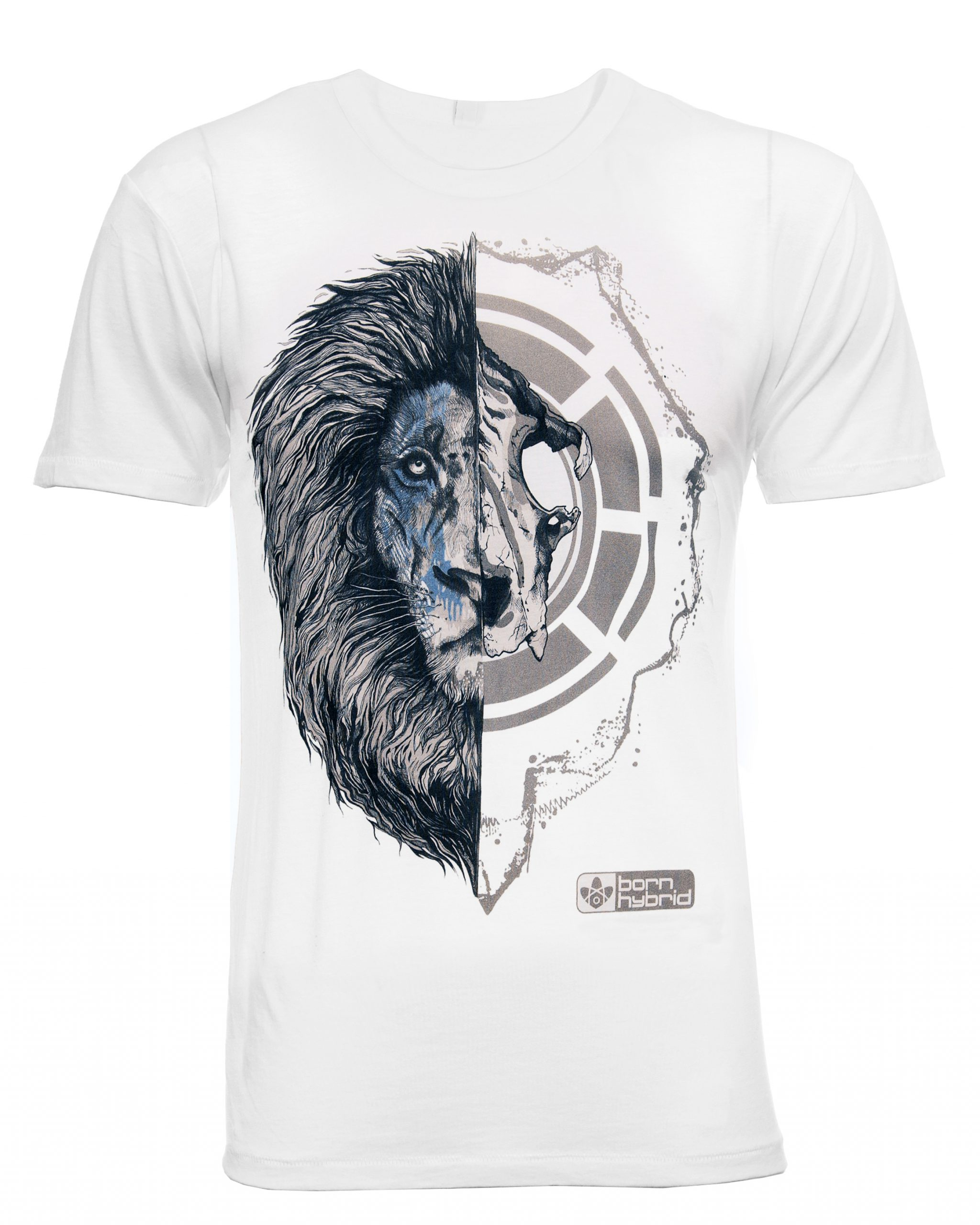 African lion graphic T-shirt - half lion face, half lion skull. White Graphic Tee In Organic Combed Cotton