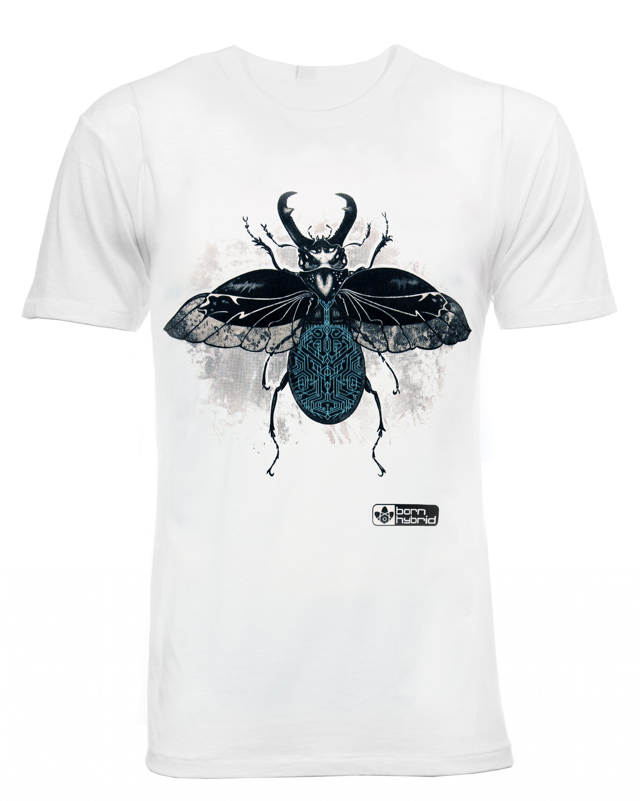 Stag beetle graphic t-shirt in organic cotton with a detailed, hand drawn design