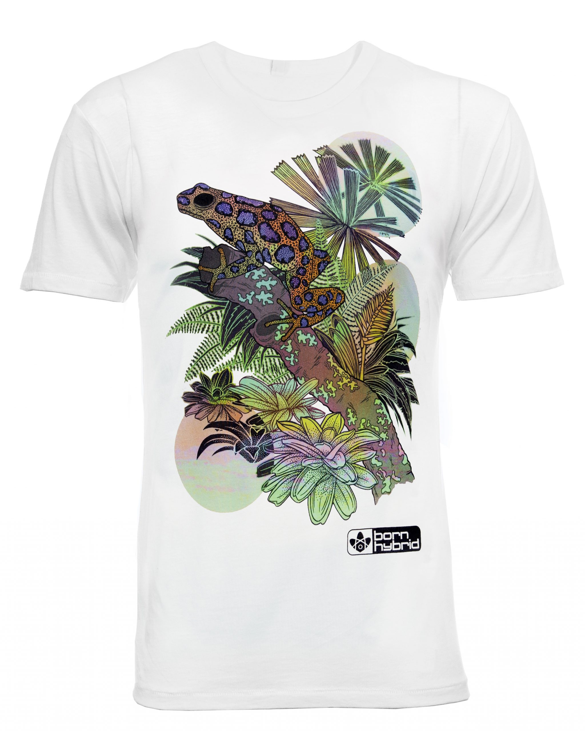 Frog graphic T-shirt in white with colourful poison dart frog design. Men's/unisex eco t-shirt by Born Hybrid
