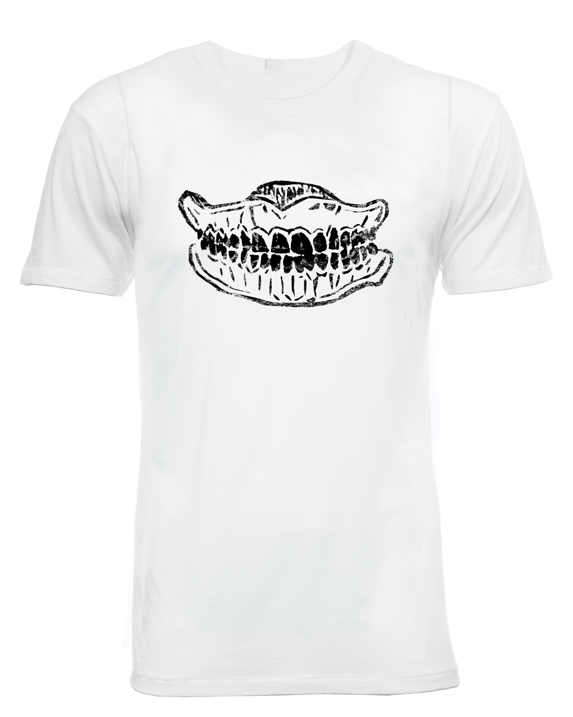 Tooth T-shirt with 90s grunge design. A white organic cotton mens graphic tee
